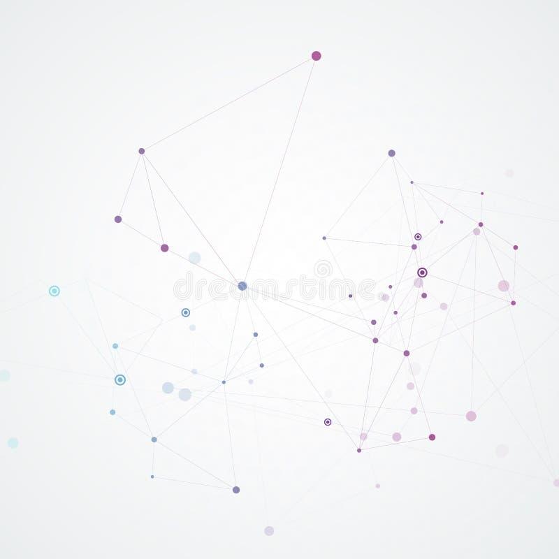 Abstrakter Verbindungshintergrund mit Molekülstruktur Wissenschafts- und Netzvektorillustration vektor abbildung