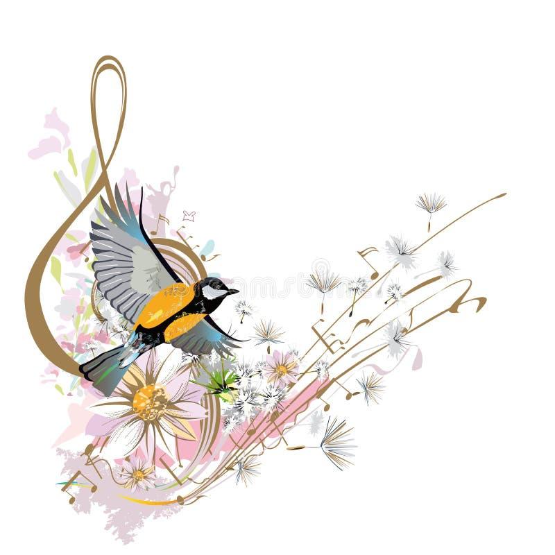 Abstrakter Violinschlüssel verziert mit Sommer- und Frühlingsblumen, Palmblätter, Anmerkungen, Vögel stock abbildung