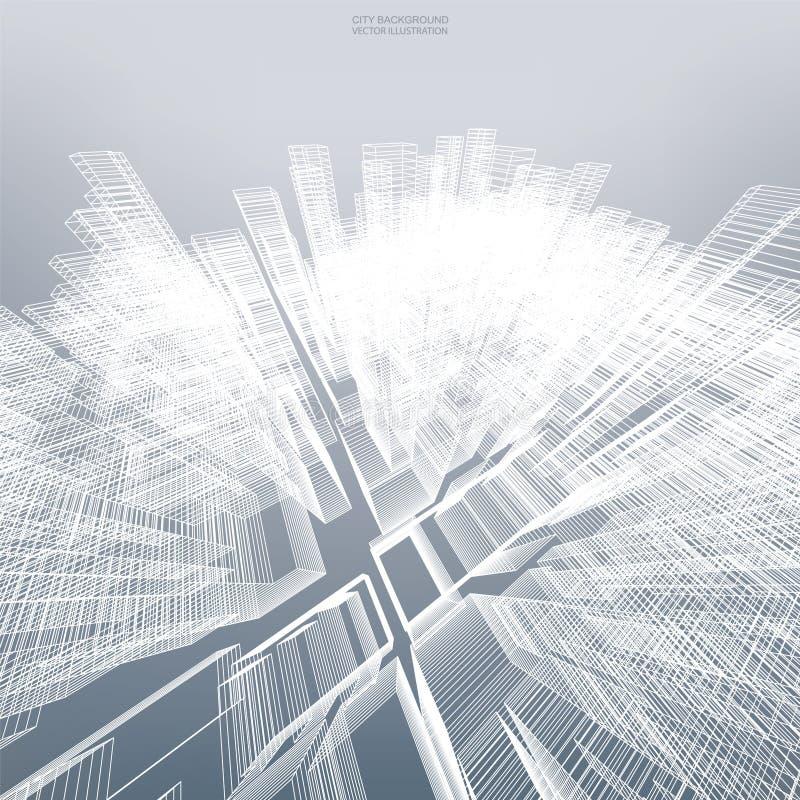 Abstrakter virtueller Zoom von wireframe für backgroumd vektor abbildung
