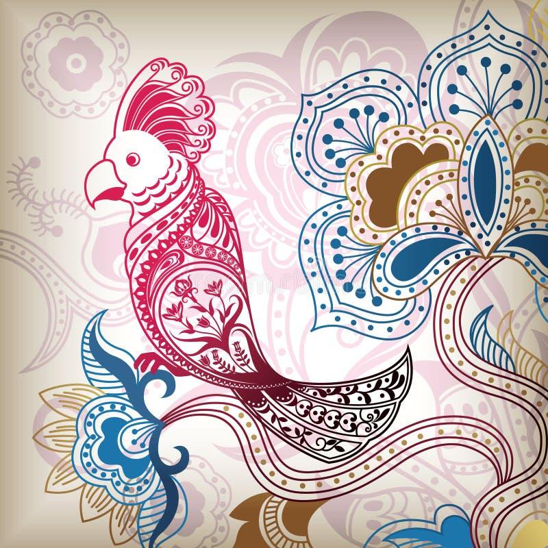 Abstrakter Vogel-mit Blumenpapagei stock abbildung