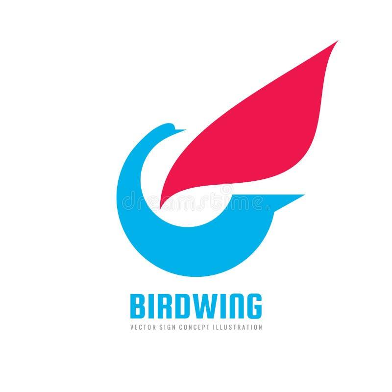Abstrakter Vogel mit Flügel - vector Logoschablonen-Konzeptillustration Minimale kreative Ikone Vektorbild, Abbildung lizenzfreie abbildung