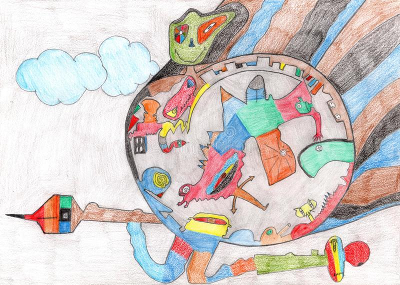 Abstrakter von Hand gezeichneter Planet