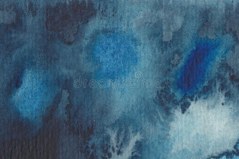 Abstrakter Watercolouranstrich im Blau stock abbildung