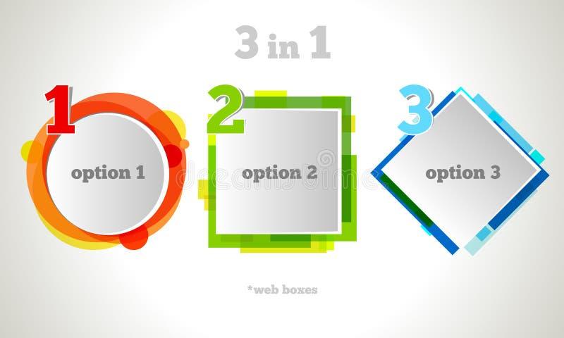 Abstrakter Webdesign-Blasen-Text Vektor-Geschäfts-Rahmen Buntes Fahnenset stock abbildung