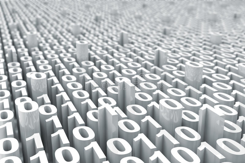 Abstrakter weißer digitaler binär Code-Hintergrund mit stock abbildung