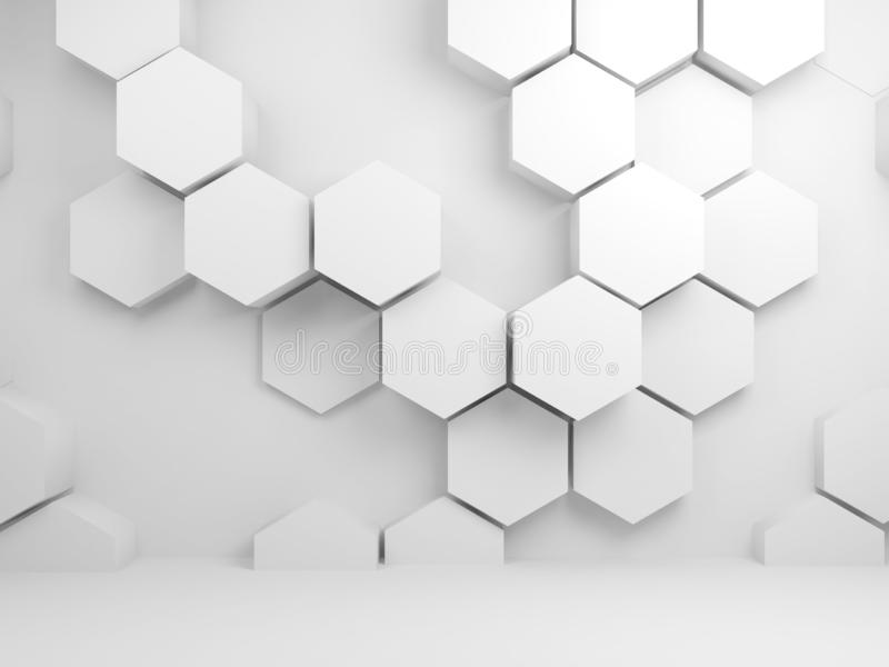 Abstrakter weißer Innenraum mit Hexagonmuster 3 d stock abbildung