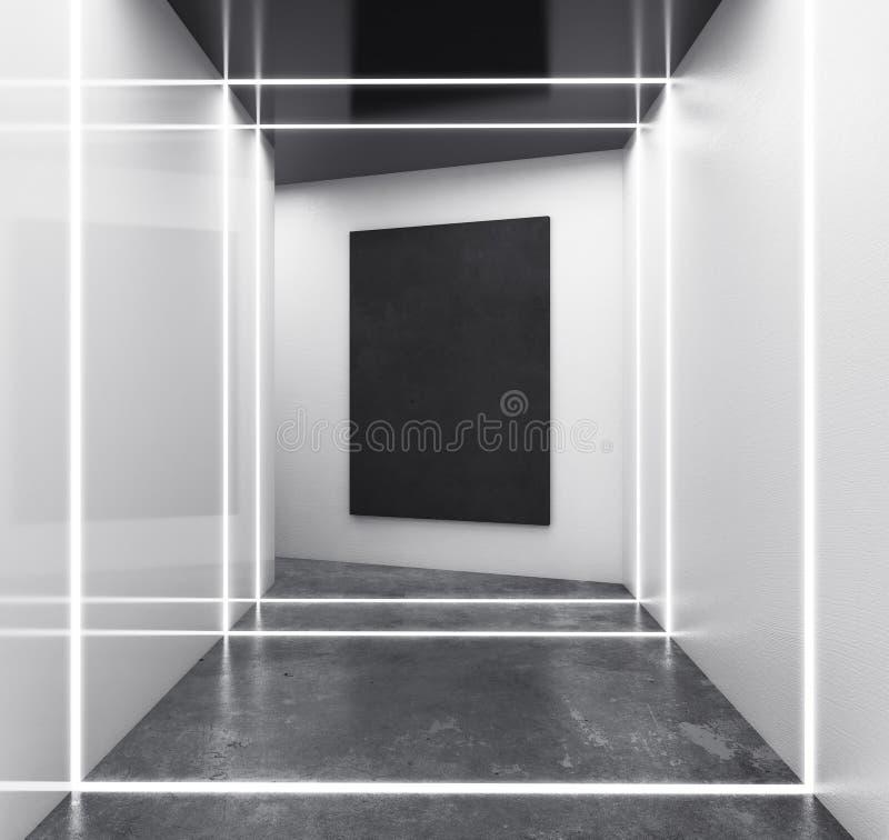 Abstrakter weißer Innenraum mit leerer Fahne vektor abbildung