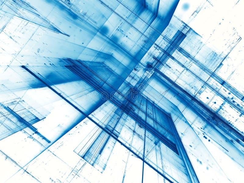 Abstrakter weißer und blauer Fractalhintergrund - digital erzeugt stock abbildung