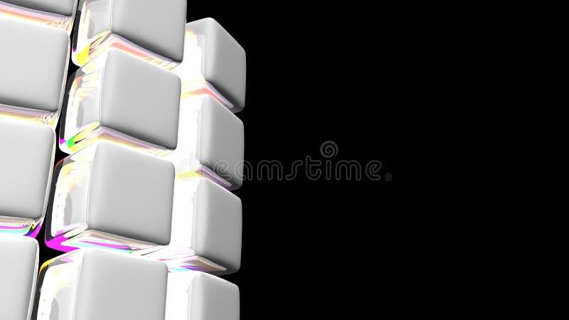 Abstrakter weißer Würfel-Hintergrund mit mehrfarbigen Lichtern lizenzfreie abbildung