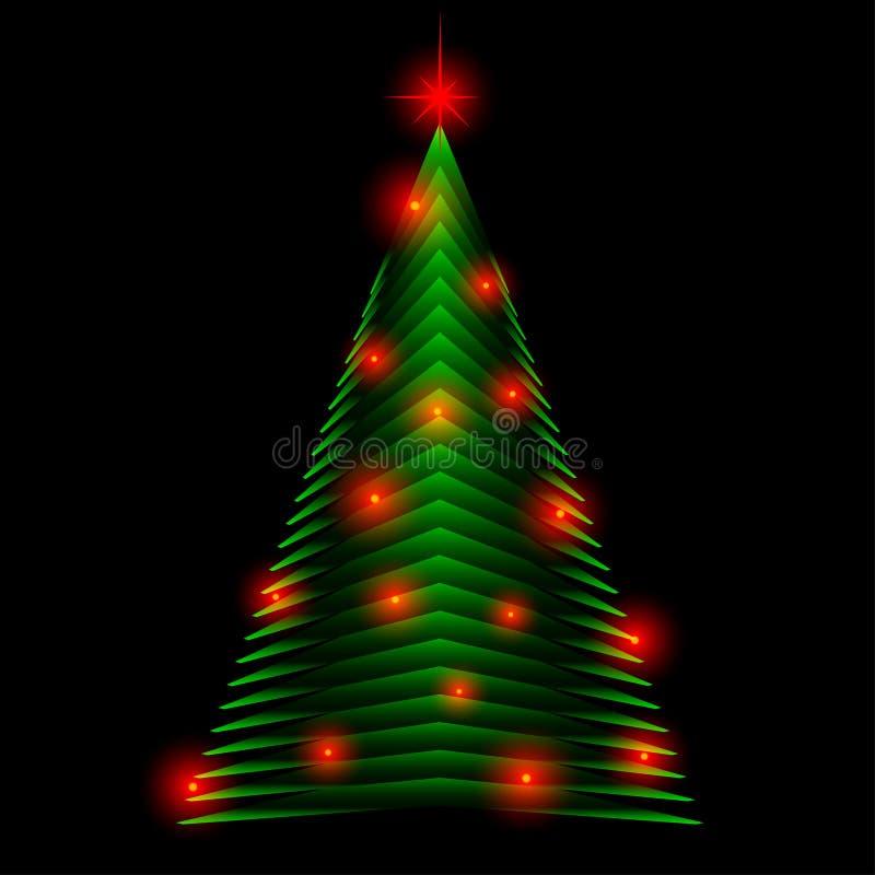 Abstrakter Weihnachtsbaum gemacht von den grünen Dreiecken Grußkartenhintergrund lizenzfreie abbildung
