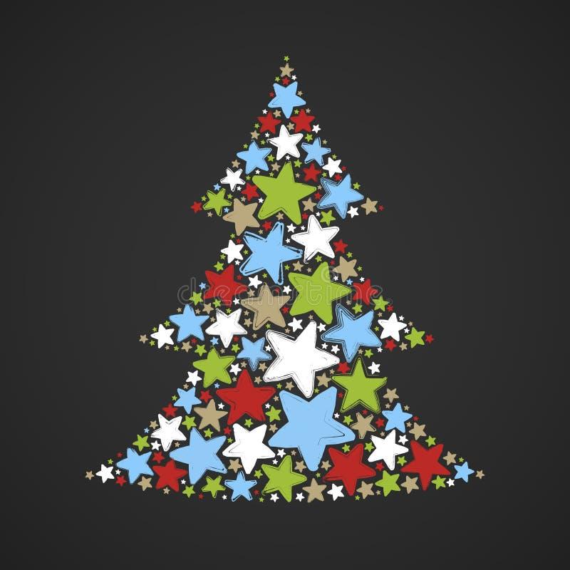 Abstrakter Weihnachtsbaum gemacht von den mehrfarbigen Sternen auf dunklem Hintergrund stock abbildung