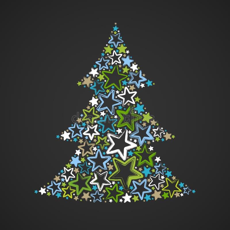 Abstrakter Weihnachtsbaum gemacht von den mehrfarbigen Sternen auf dunklem Hintergrund vektor abbildung