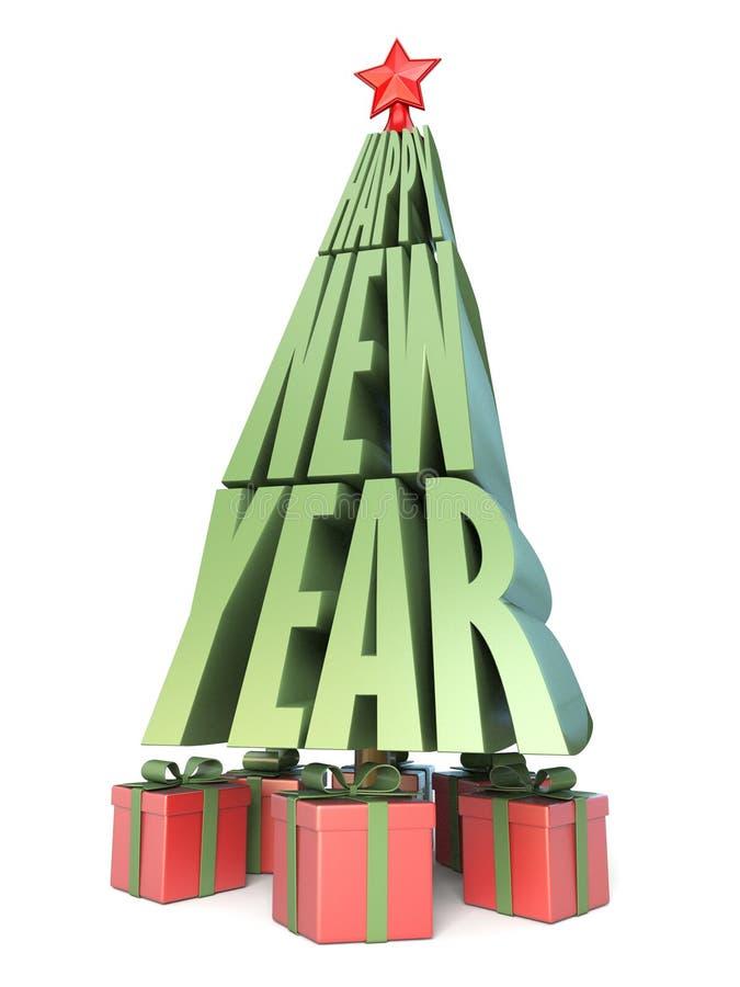 Abstrakter Weihnachtsbaum gemacht von den Wörtern GUTEN RUTSCH INS NEUE JAHR und von Geschenken u stock abbildung