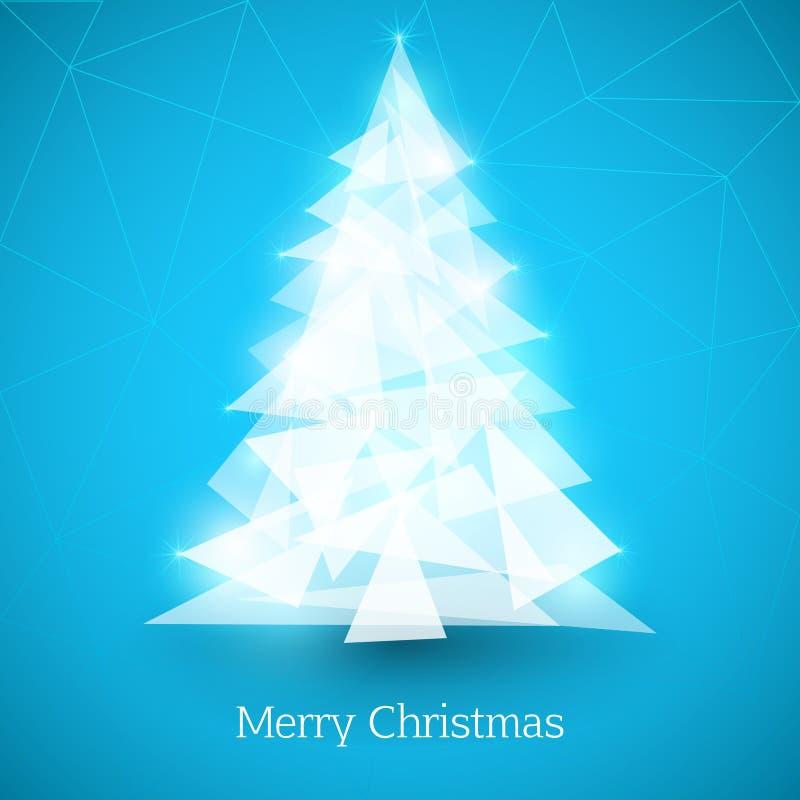 Abstrakter Weihnachtsbaum gemacht von den weißen Dreiecken auf blauem Hintergrund lizenzfreie abbildung