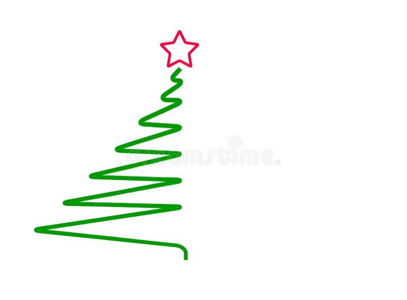 Abstrakter Weihnachtsbaum, lokalisiert auf Weiß, Vektor stock abbildung