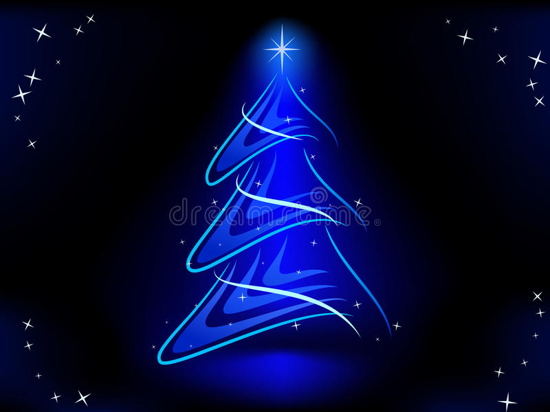 Abstrakter Weihnachtsbaum mit Blau belichten Stern stock abbildung