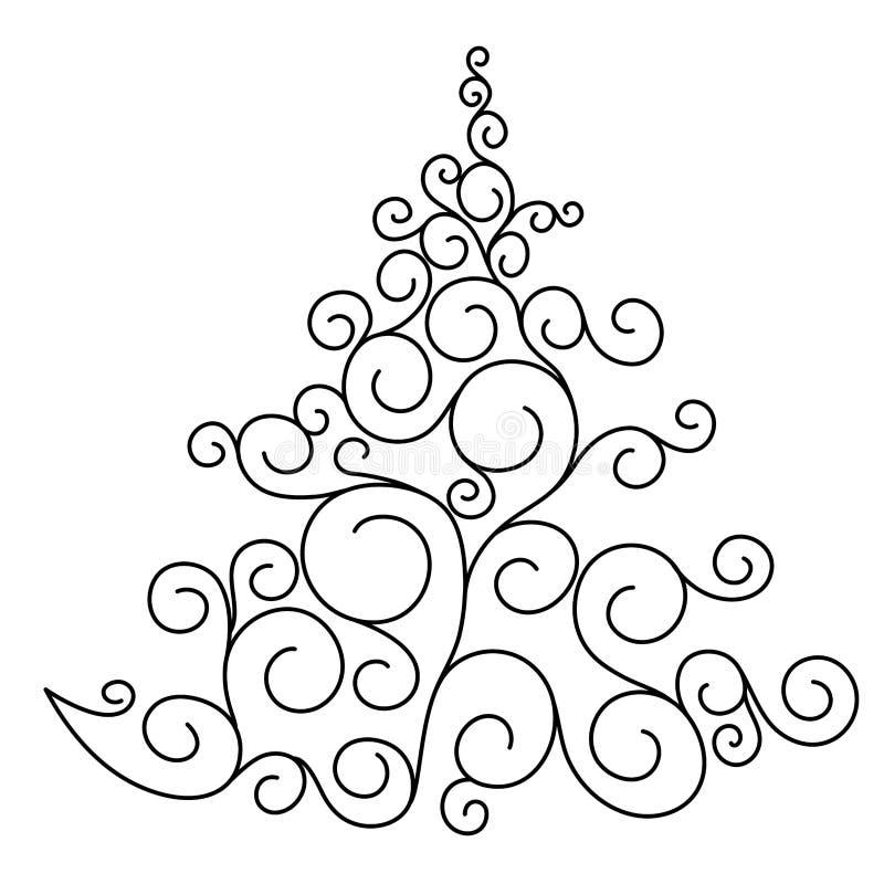 Abstrakter Weihnachtsbaum mit Verzierungen auf weißem Hintergrund stockfotografie