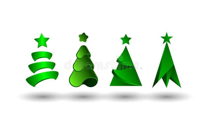 Abstrakter Weihnachtsbaum-Satz Baumikonen der Tanne 3d für Weihnachts- und des neuen Jahresgruß Kartendekoration stock abbildung