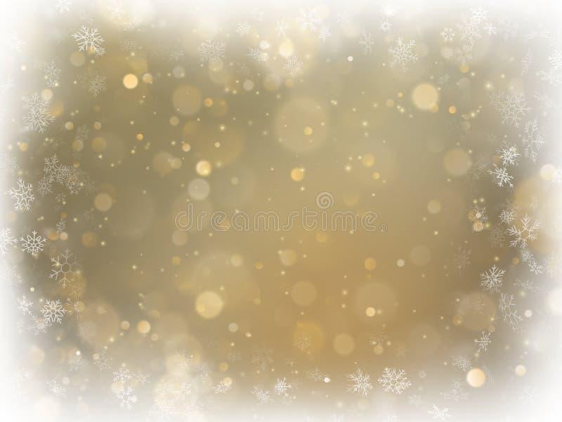 Abstrakter Weihnachtsgoldhintergrund mit weißem Rahmen- und Kopienraum Goldabstrakter Maschenhintergrund Schneeflocken fassen an  stock abbildung