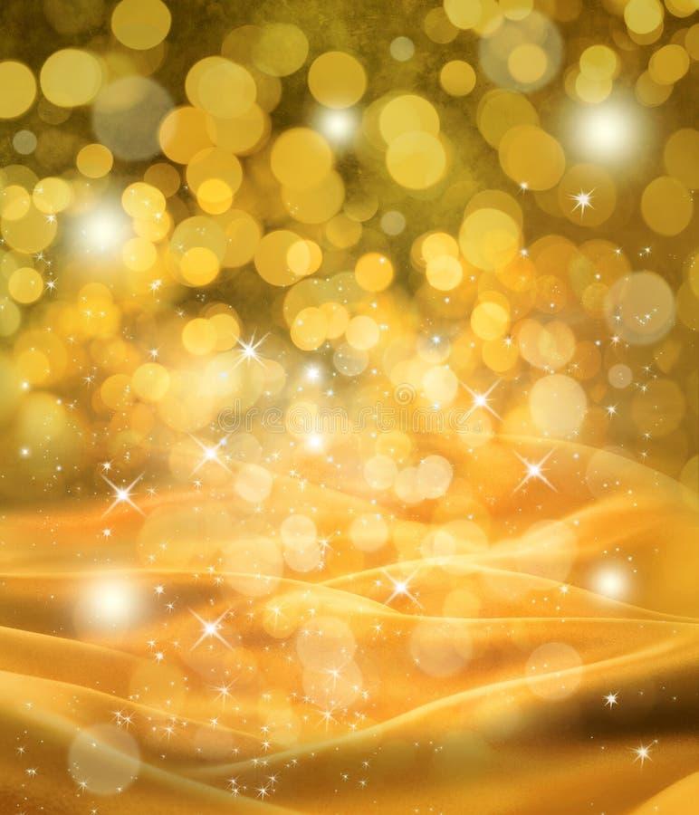 Abstrakter Weihnachtsgoldsatin-Hintergrund stockfotografie