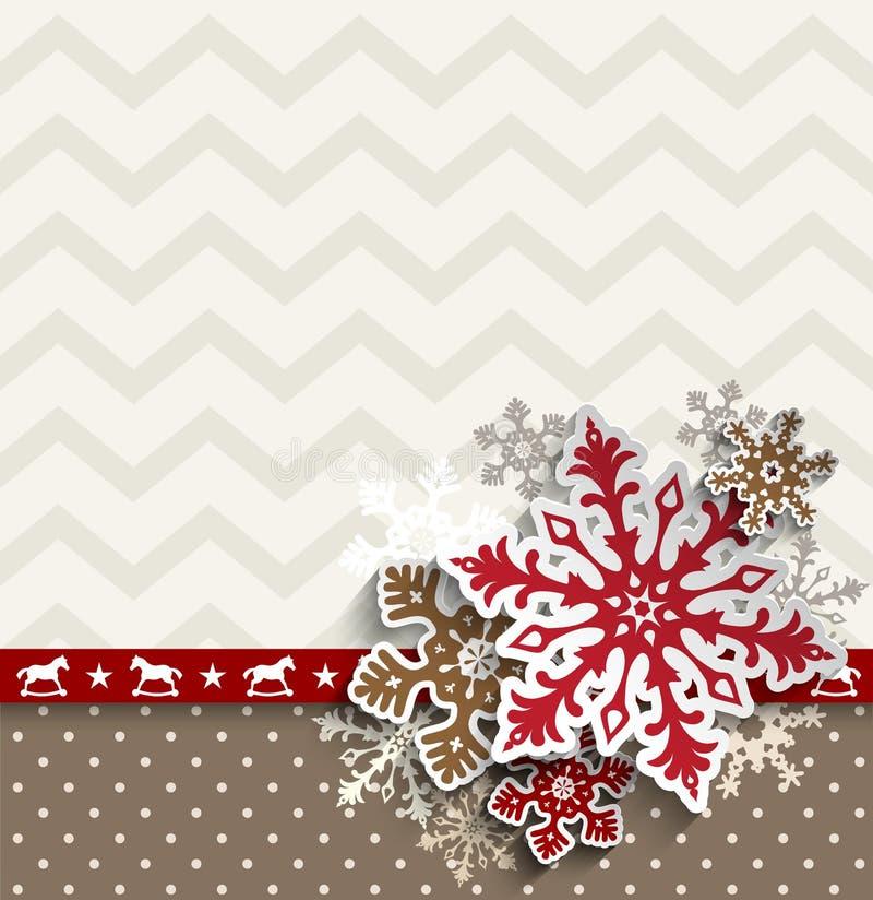 Abstrakter Weihnachtshintergrund mit dekorativen Schneeflocken und Sparrenmuster, Illustration stock abbildung