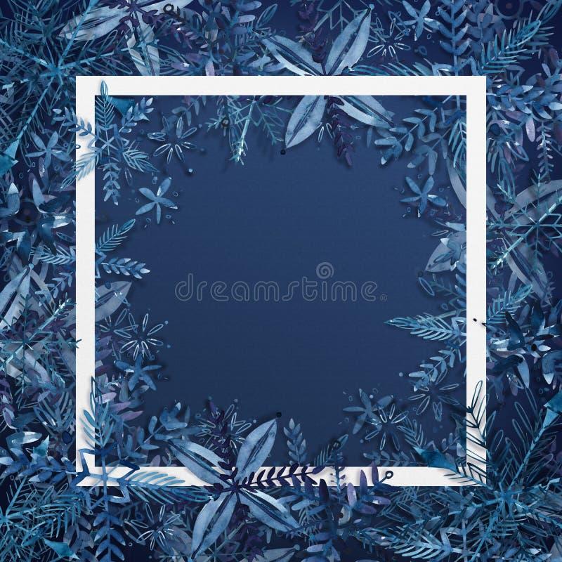 Abstrakter Weihnachtshintergrund mit Schneeflocken auf Hintergrund des blauen Papiers Karte der frohen Weihnachten des Aquarells  stock abbildung