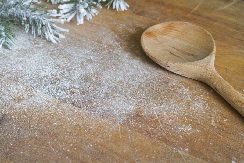 Abstrakter Weihnachtslebensmittelschutzträger und kochen Hintergrund lizenzfreies stockbild