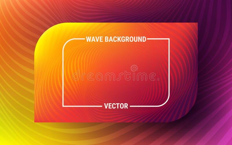 Abstrakter Wellenhintergrund Leuchtorange- und violettesmuster Dynamische Bewegung von geometrischen Formen Vibrierende Steigung stock abbildung