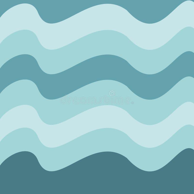 Abstrakter Wellenvektorhintergrund oder -tapete Blaue Farben der Steigung, gelockte Linien, Vektor können als Hintergrund der Gru lizenzfreie abbildung