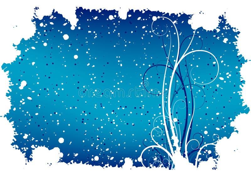 Abstrakter Winter grunge Hintergrund mit Flocken und Rollen lizenzfreie abbildung