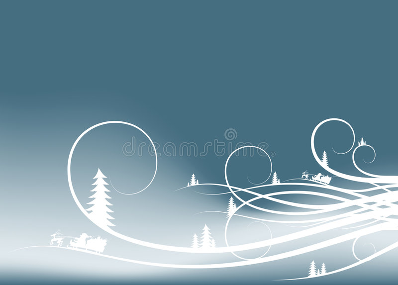 Abstrakter Winterhintergrund mit Tannenbaumschattenbildern und Sankt-Cl lizenzfreie abbildung