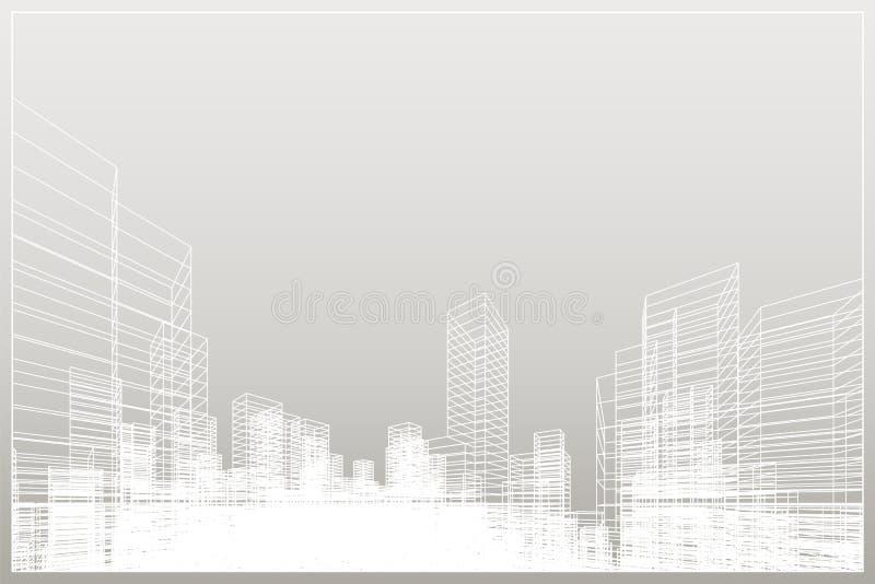 Abstrakter wireframe Stadthintergrund Perspektive 3D übertragen von Gebäude wireframe Vektor lizenzfreie abbildung
