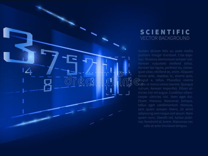 Abstrakter wissenschaftlicher Hintergrund mit Zahlen lizenzfreie abbildung
