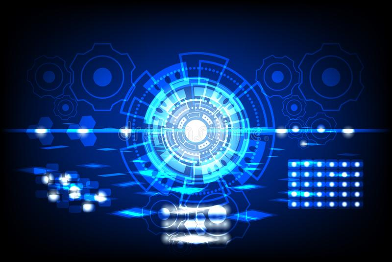 Abstrakter zukünftiger Kreis Konzeptinnovation schließen Digitalanschluß Zukunft in Weltcomputernetzwerktechnologiezeit-Daten com lizenzfreie abbildung
