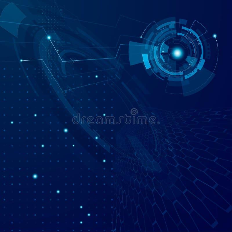 Abstrakter zukünftiger Technologiedesignhintergrund Futuristisches Cyberspacetechnologiekonzept Sci FI-Schnittstellensystem Es ka stock abbildung
