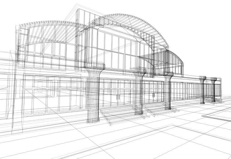 Abstraktes 3D Bürohaus lizenzfreie abbildung