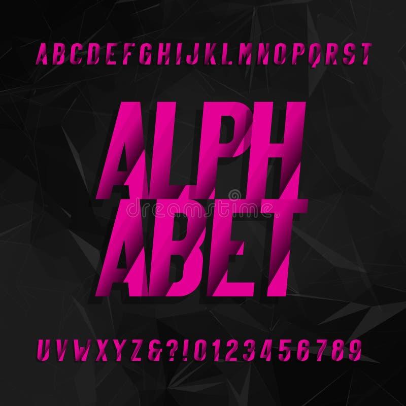 Abstraktes Alphabetschriftbild Schiefe Art Buchstaben und Zahlen auf einem schwarzen geometrischen Hintergrund vektor abbildung