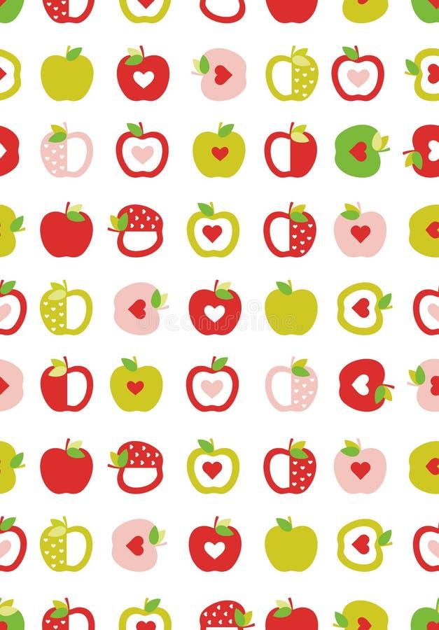Abstraktes Apfel-Vektor-Muster Geometrische einfache Früchte Rosa, rote und grüne Äpfel mit roten Herzen Weißer Hintergrund vektor abbildung