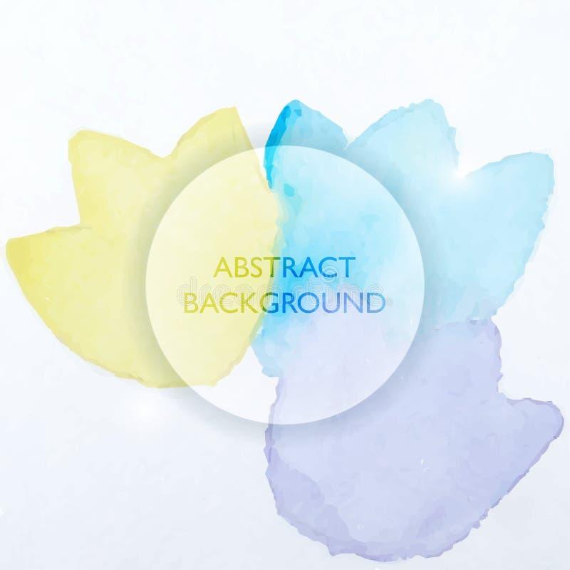 Abstraktes Aquarell-blauer und gelber Blumen-Hintergrund lizenzfreie abbildung