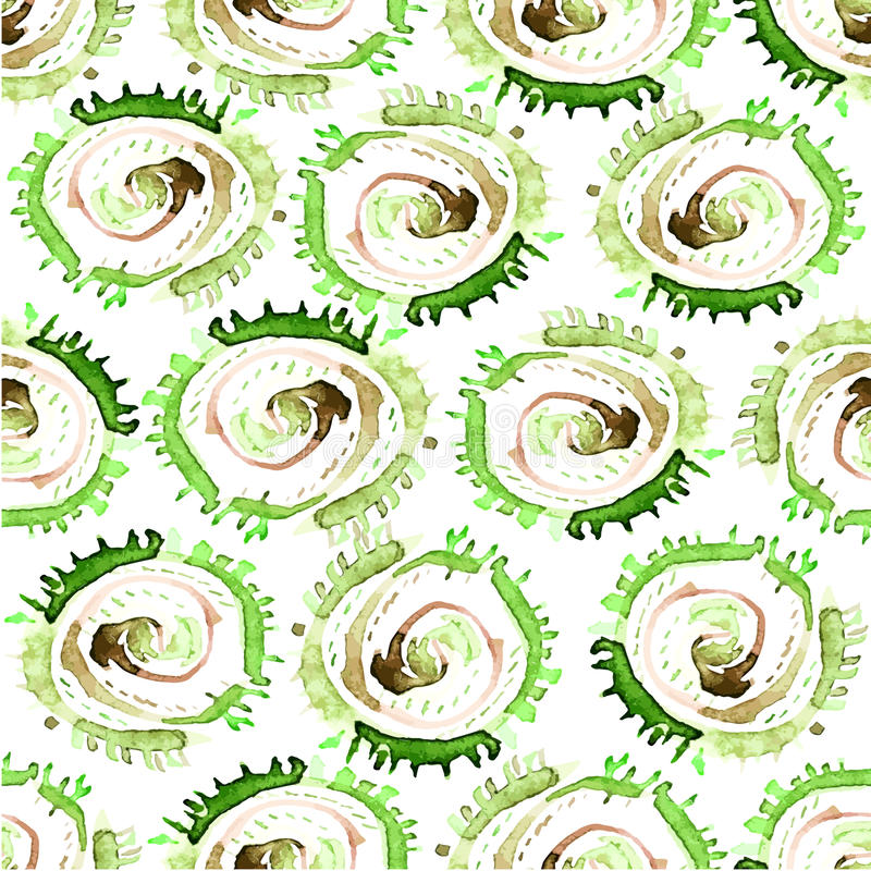 Abstraktes Aquarell des Vektors wirbelt nahtloses Muster Grüner Kreisfliesenhintergrund lizenzfreie abbildung