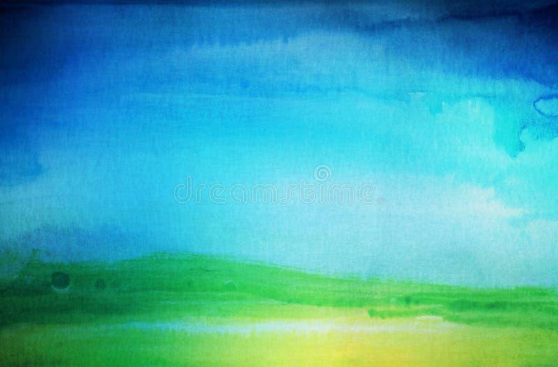 Abstraktes Aquarell gemalter Landschaftshintergrund gemasert lizenzfreies stockbild