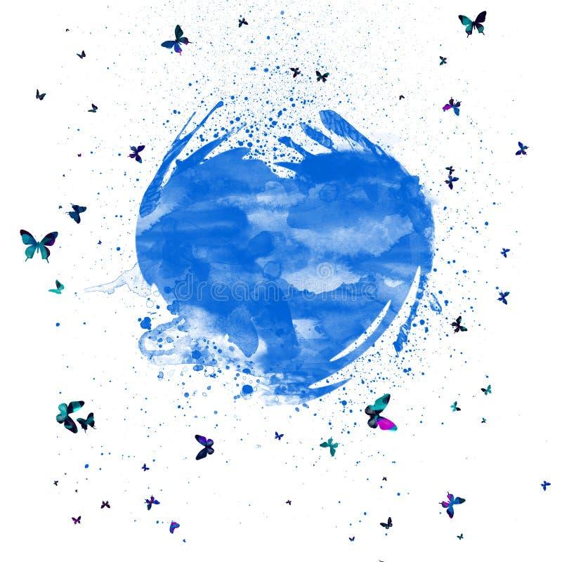 Abstraktes Aquarell spritzt blaues Herz Herz mit bunten Schmetterlingen stockbild