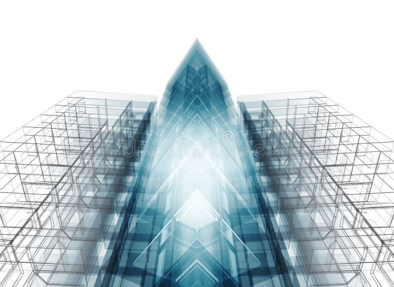Abstraktes Architekturkonzept Wiedergabe 3d lizenzfreie abbildung
