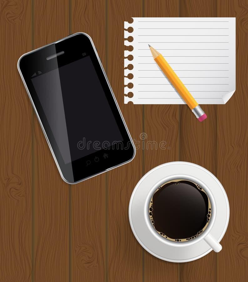 Abstraktes Auslegungstelefon, Kaffee, Bleistift, Leerseite Stockfotografie