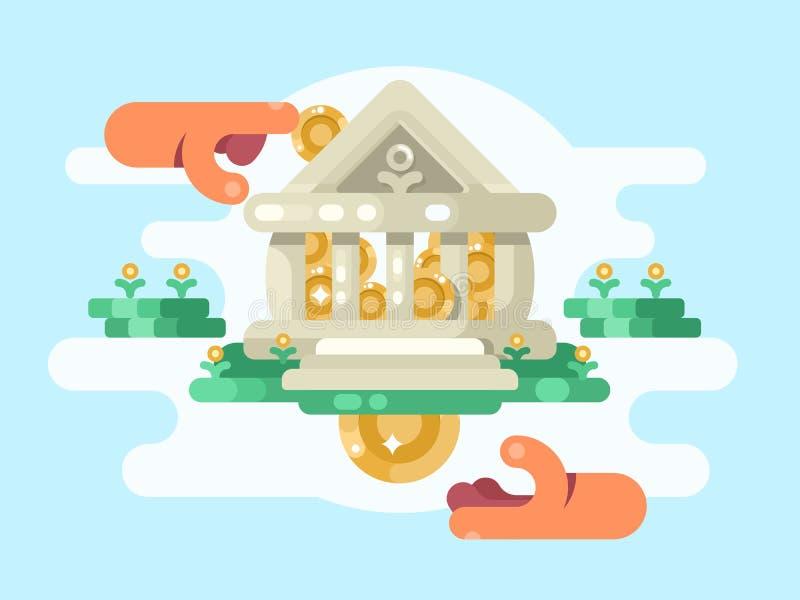 Abstraktes Bankgebäude mit Münze lizenzfreie abbildung