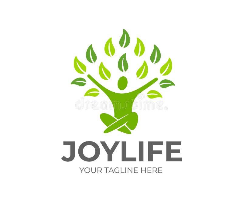 Abstraktes Baummannsitzen, glücklich und froh, Leben und positive Stimmung, Logodesign Grün, Ökologie und gesundes, Vektordesign lizenzfreie abbildung