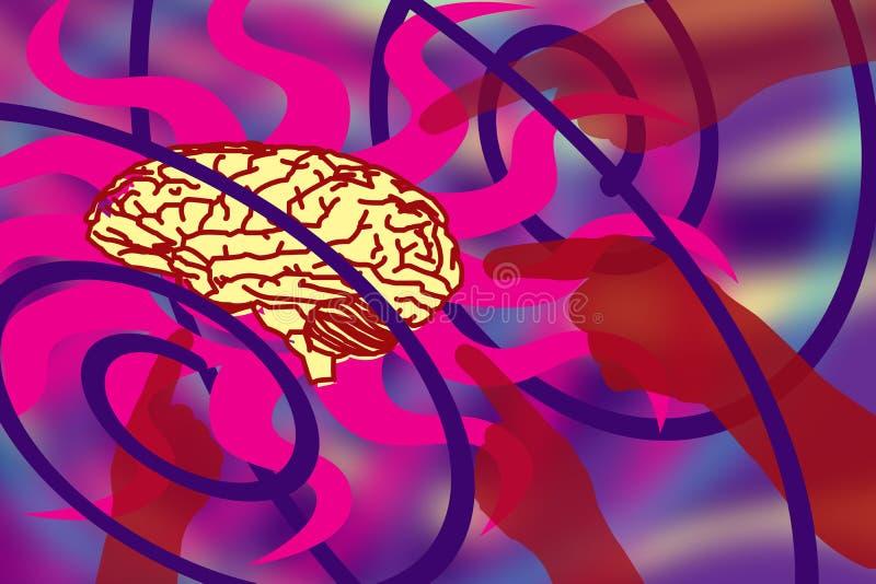 Abstraktes Bild der Effekte der Umwelt auf das menschliche Gehirn stock abbildung