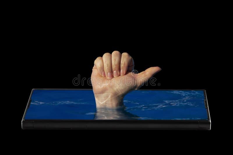 Abstraktes Bild der Zustimmung in den sozialen Netzwerken, hob oben große Fleckenstöcke aus dem Schirm eines Smartphone, auf eine stockfotos