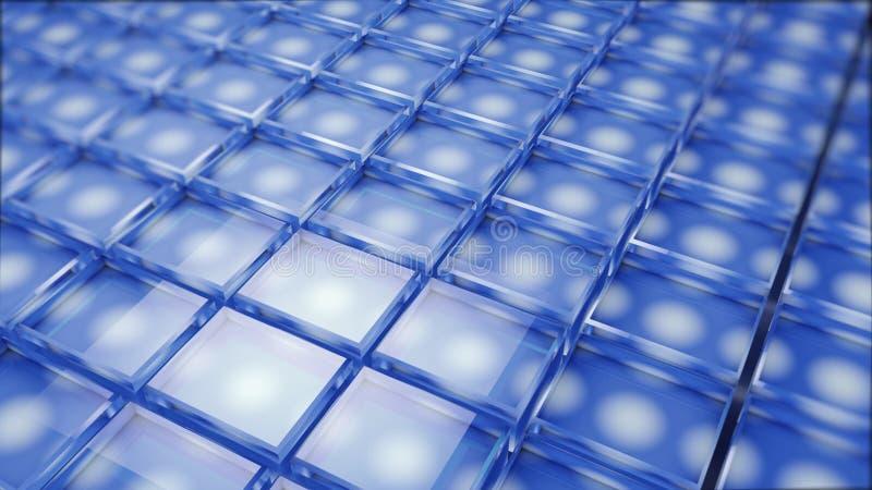 Abstraktes Bild des Würfelhintergrundes im Blau getont stockbilder