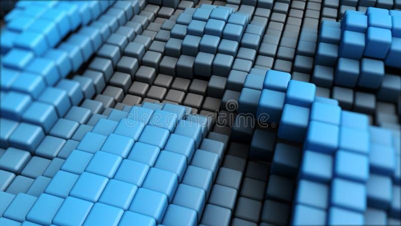 Abstraktes Bild des Würfelhintergrundes im Blau getont stockfotos